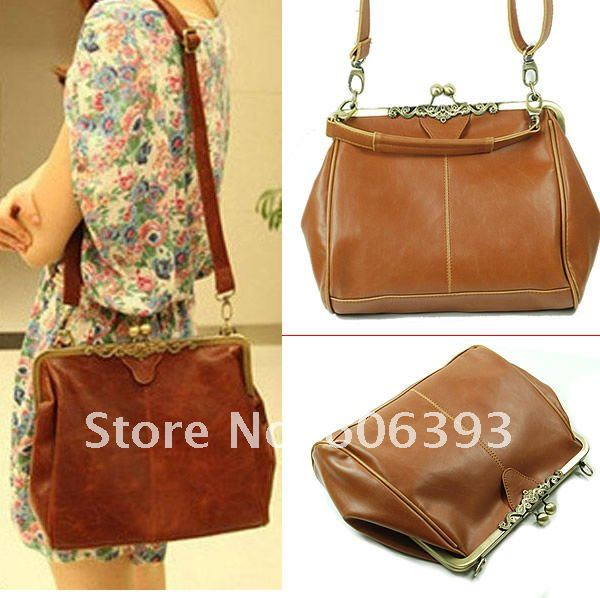 C18 Free shipping Fashion Retro Vintage Lady PU Leather Shoulder Handbag Satchel Tote Bag Purse(China (Mainland))