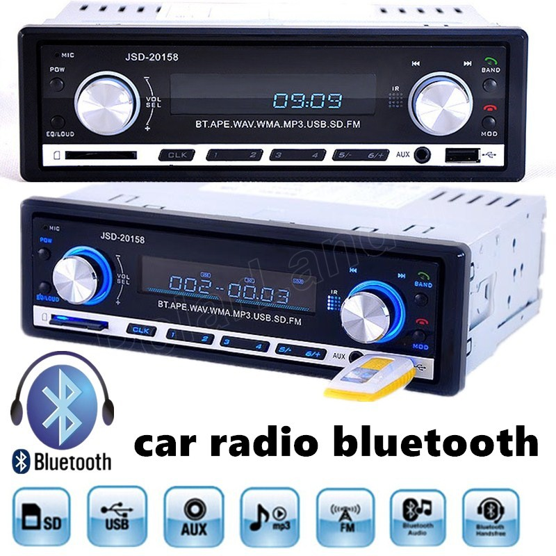 Universal 1 Din Free shipping Remote Control Car MP3 Player Radio Stereo FM Bluetooth Handsfree USB AUX SD AUXIN function(China (Mainland))