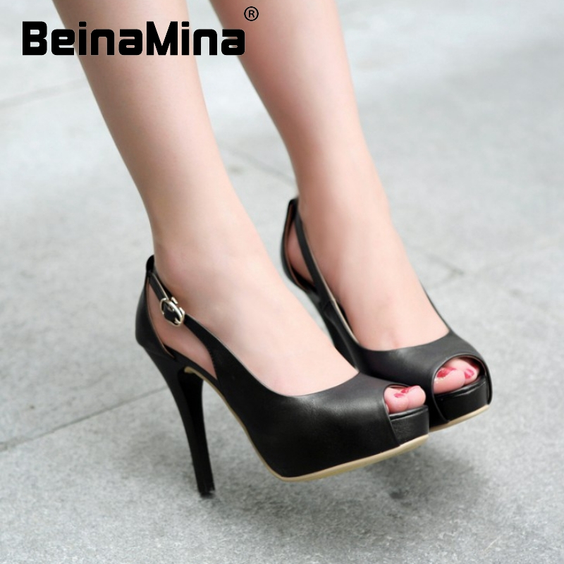 women real genuine leather platform peep open toe high heel shoes sexy fashion brand pumps ladies heels shoes size 34-39 R5617<br><br>Aliexpress