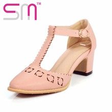 Super Big Size Candy Color Women Sandals T-Strap Square Med Heels Shoes Woman Round Toe Cutouts Sandals For Ladies Zapatos Mujer