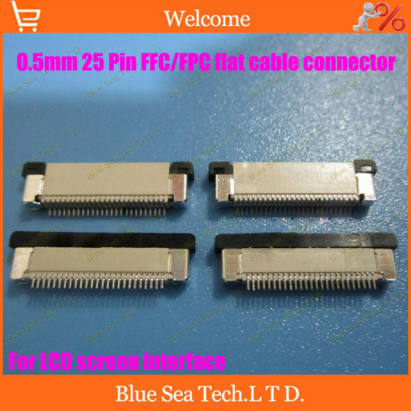 Free Shipping FPC/FFC connector cable socket 25 pin 0.5mm connector for LCD screen interface of DVD/GPS/MP3/PDA/Phone ect.ROHS<br><br>Aliexpress