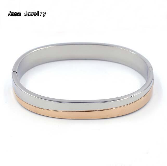 New Fashion Designs Mixed Gold Color Cuff Bracelet,18K Plated Stainless Steel Material in White Gold and Rose Gold,A Joyful Gift(China (Mainland))