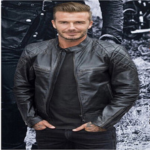 Mens Stand Collar Leather Jackets Autumn New Men's Leather Jacket Locomotive Style Men's Slim Fit Leather Clothing Black Brown(China (Mainland))