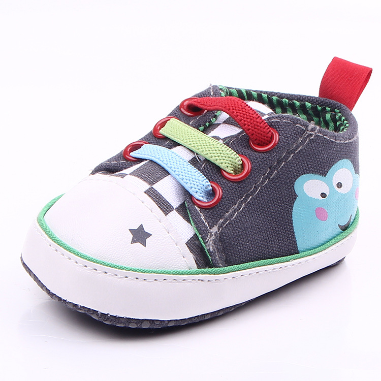 Kids Baby Shoes Infant Girls Frog Printed Shoes Soft Sole Canvas Shoes Newborns Prewalker 0149(China (Mainland))