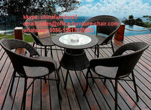 all weather outdoor leisure garden rattan dining chair and table set(China (Mainland))