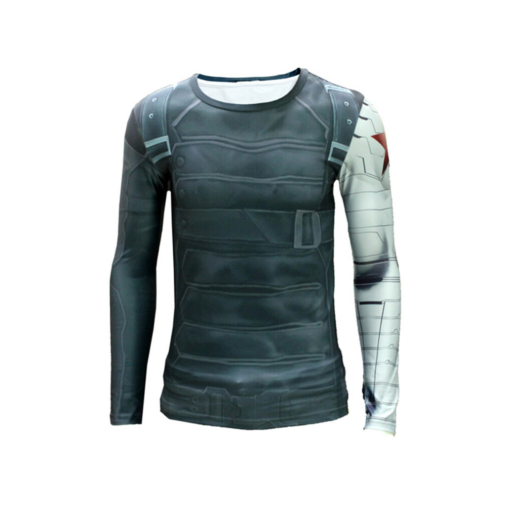 Captain America II The Winter Soldier Cosplay Men Printed Steel Arm Long Sleeve Compression Shirt(China (Mainland))