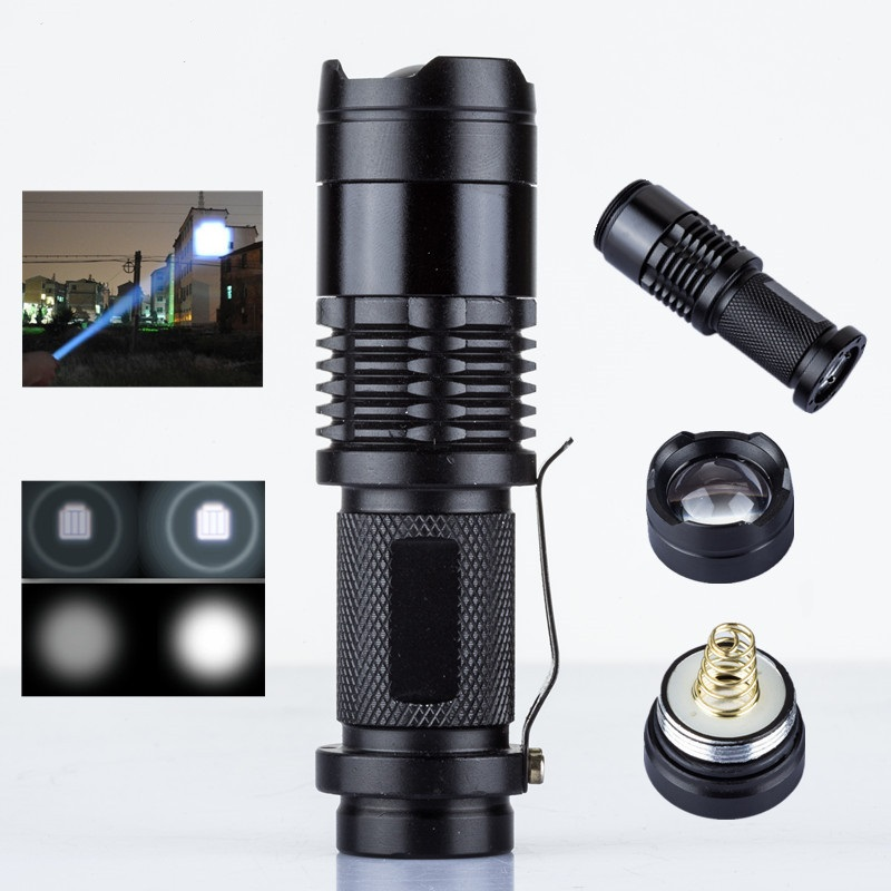 Q5 Mini LED Flashlight ZOOM 7W Waterproof light 3 Modes Zoomable Torch AA 14500 battery Lamp Penlight - Colourful Technology Co., Ltd. store