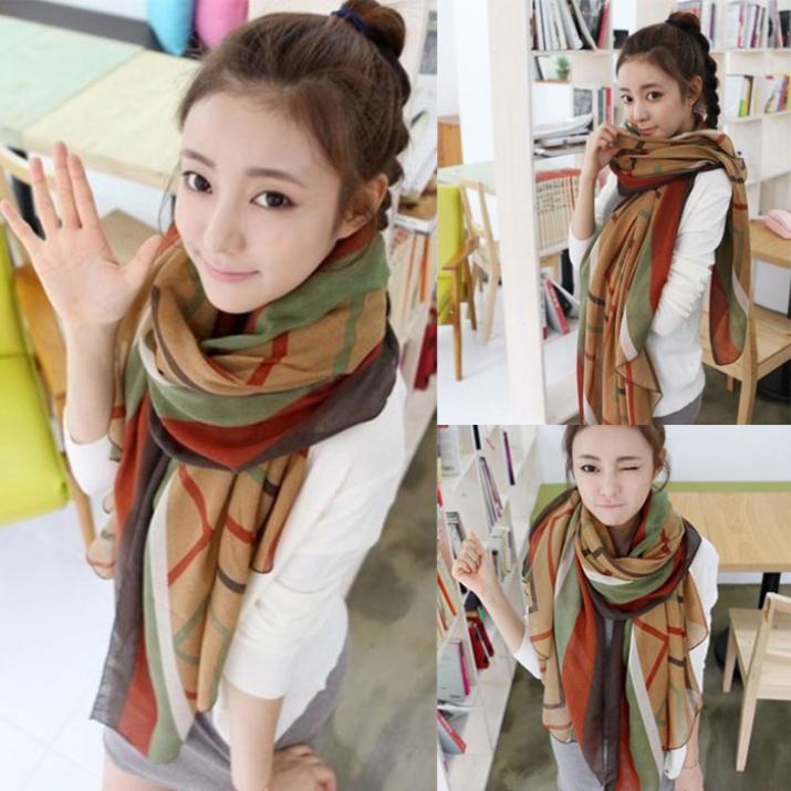 Brand new 2015 Fashion Women Girls Striped Winter Autumn Silk Scarves Soft Scarf Wrap Shawl free shipping(China (Mainland))