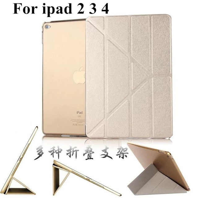 Smart Case Slim Magnetic Silk PU Leather Stand Cases For apple ipad 2 3 4 ipad2 ipad3 ipad case Smart Cover case