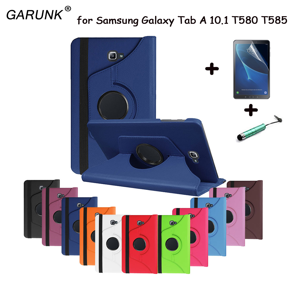for Samsung Galaxy Tab A 10.1 2016 SM-T580 T580N T585 T585C Tablet Case 360 Degree Rotating Stand Leather Protective Skin Cover(China (Mainland))