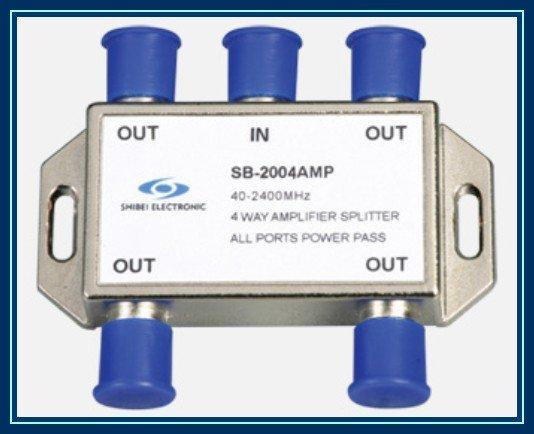SB 2004AMP all ports single way passing current 10PCS Lot 4 way SAT signal amplifier splitter