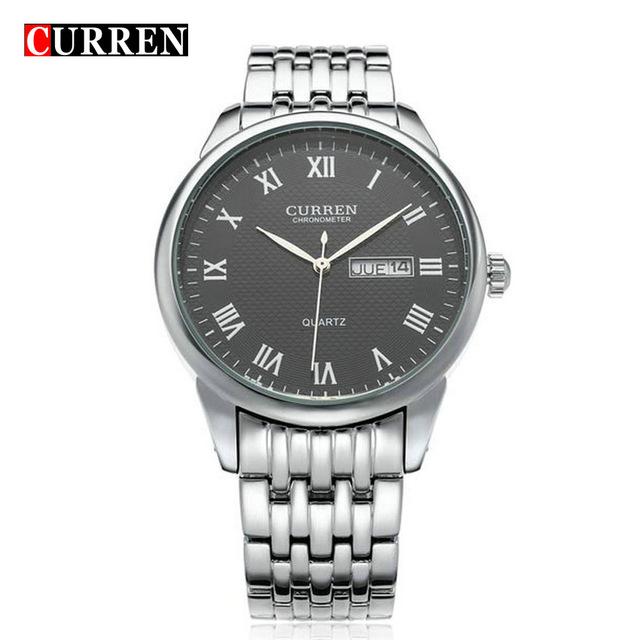 2016 нью-curren полный нержавеющей стали кварцевые часы мужчины свободного покроя марка классические часы наручные часы Relojes хомбре