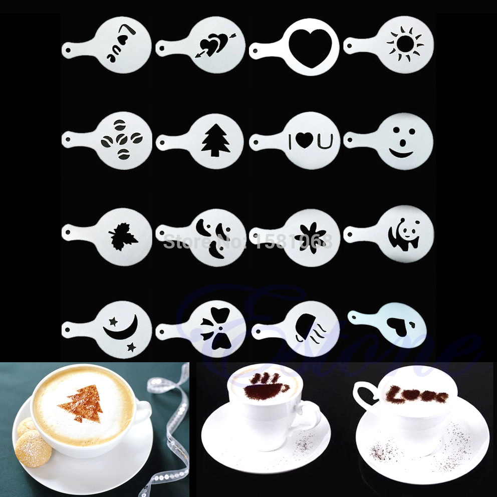 16Pcs Cappuccino Coffee Barista Stencils Template Strew Flowers Pad Duster Spray(China (Mainland))