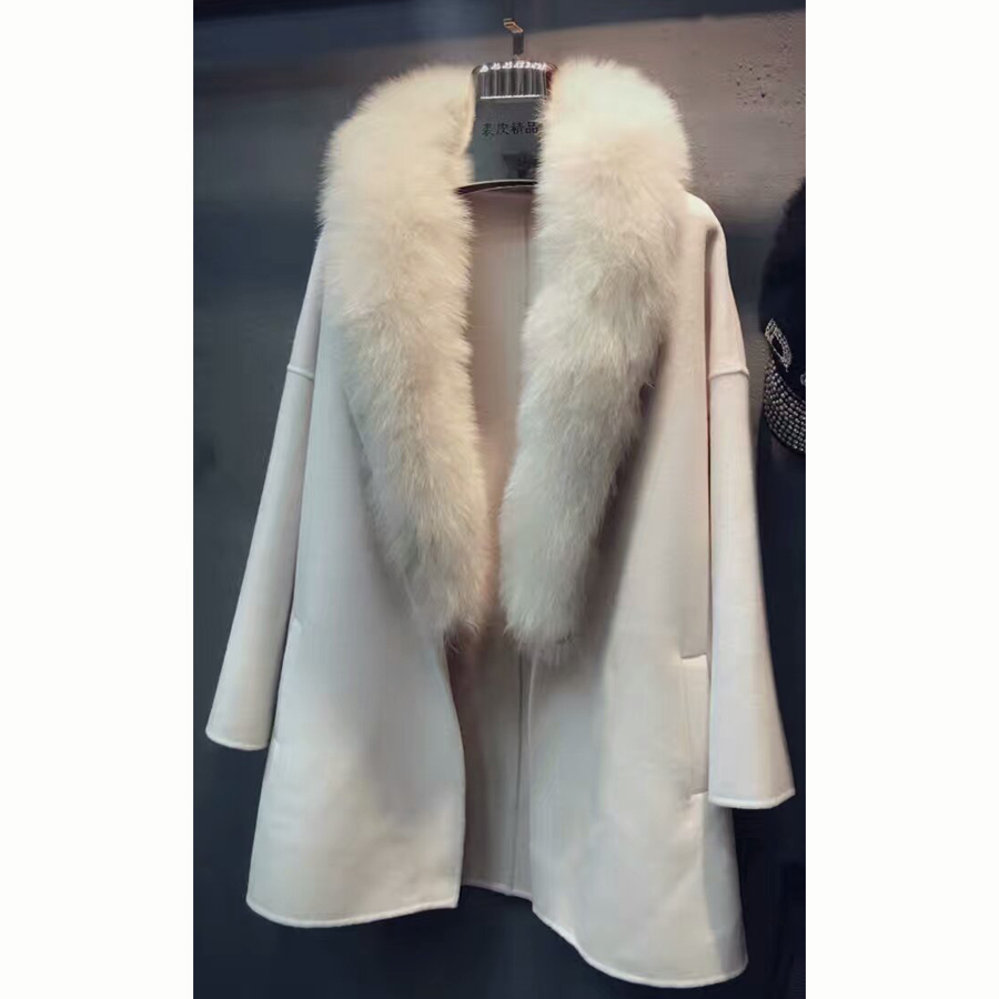 Only Beige M Real Natural Wool Women Overcoat Genuine Super Big Fox Fur Double Sided Outwear SML Green Clothing Woolen Coats(China (Mainland))