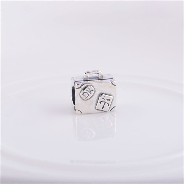 Аутентичные 925 серебряные ювелирные изделия бусины чемодан шаблон европейские женщины DIY очарование мода ювелирных изделиях Fit пандора браслет