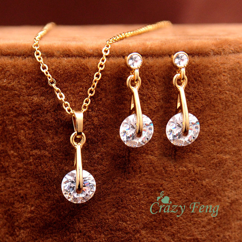 Free shipping New 18k Yellow Gold Filled Women's/Girl's CZ Diamond Chain Necklace + Earrings Wedding Jewelry Sets Gifts(China (Mainland))