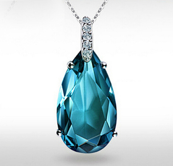 Top Quality Blue Crystal 100% 925 Sterling Silver Fashion Necklace & Pendants Fine Jewelry Top Quality Gift FREE SHIPPING