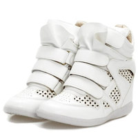Summer Air White Hollow Isabel Marant Bekett High-top Wedges Sneakers,Size 35~40,Height Increase 6cm,No Logo,Women's Shoes