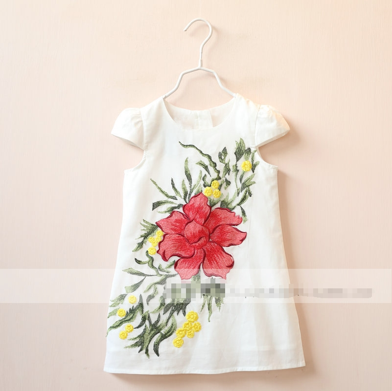 Baby Girls Embroidered Floral Dresses Kids Girls Spring Cotton Jumper Dress 2016 Childrens Babies Princess Clothing <br><br>Aliexpress