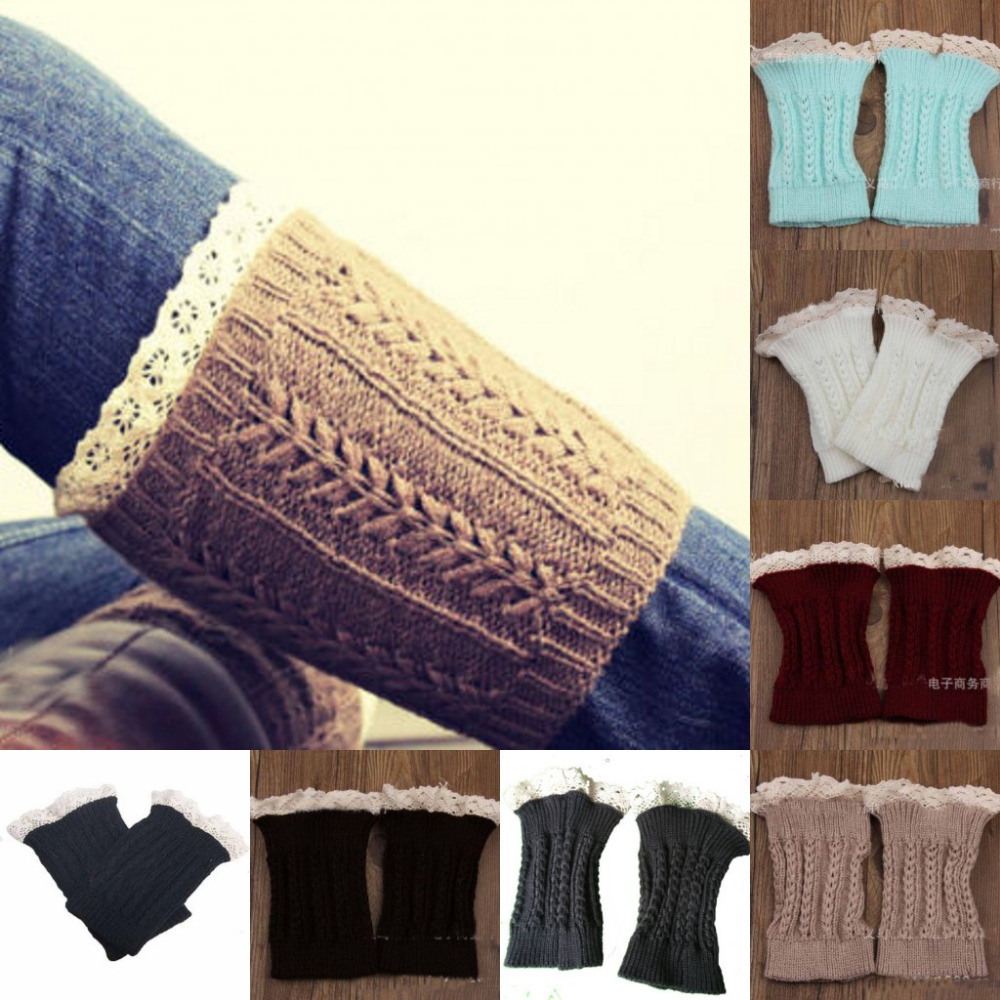 Women's Fashion Crochet Knitted Lace Trim Boot Cuffs Toppers Leg Warmers Socks(China (Mainland))