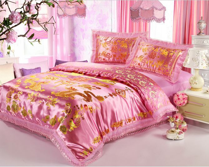 New fashion bed set embroidered bedding set king queen size export quality dragon duvet cover(China (Mainland))