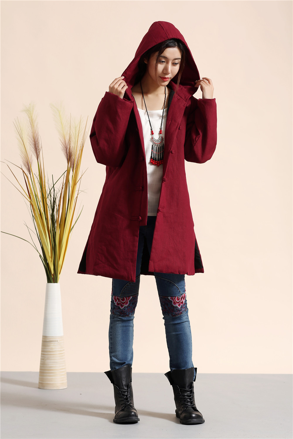 Women Winter Coat  Down Jackets cotton linen Long Cotton-Padded Clothes hooded Coats Parkas Casual Parka Wadded 3Colors 3sizes