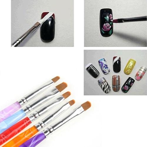 Melhor venda 2 maneiras Marbleizing Dotting Manicure pintura Pen escova pintura Nail Art 5 Pcs 61VR