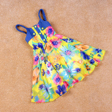 New 2015 summer style Fashion Denim stitching Chiffon flowers Tank Sling Camisole Dress Girls Holiday beach Sling Dress