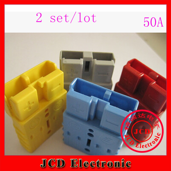 2 sets 2P 50A 600V Power Connector Battery Plug + terminal Contacts For Electric Forklift Stacker electrocar(China (Mainland))