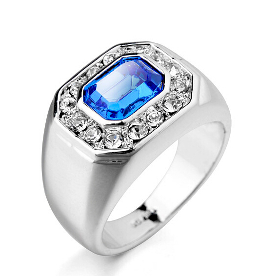 9quot size white gold plated man ring blue stone wedding