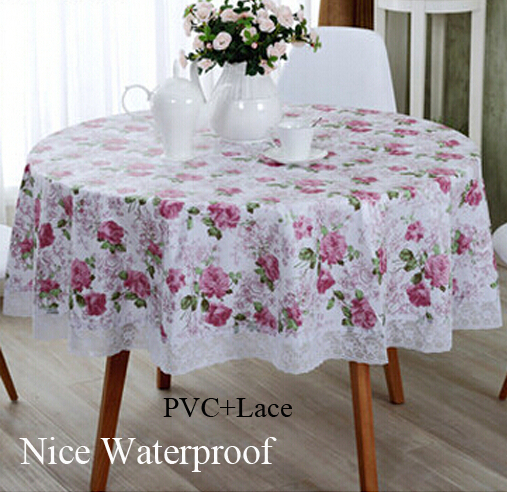 Nice quality New Year table covers Lace PVC Tablecloth Round Waterproof table cloth for Christmas/hotel/home/Wedding supplies(China (Mainland))