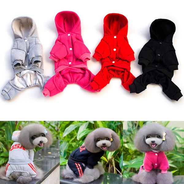 Small Dog Cat Pet Hoodie Apparel Clothes Sweatshirt Warm Coat Jumpsuit S-XL(Hong Kong)