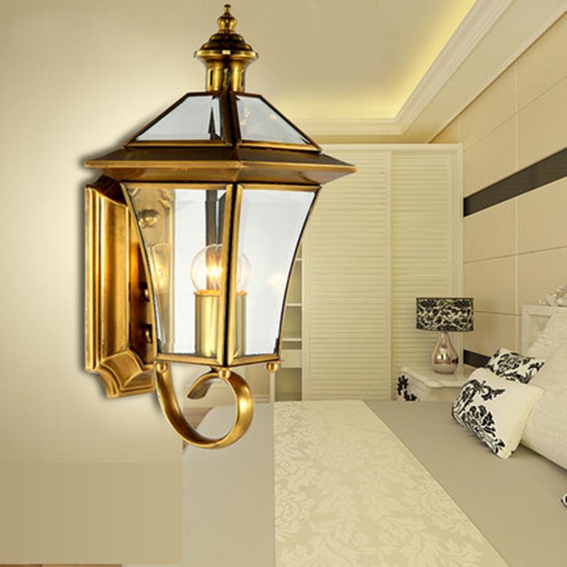 European Classical Luxury Outdoor Copper Art Waterproof Wall Lamp For Bedroom aisle Living Room Villa Garden Balcony 1688(China (Mainland))