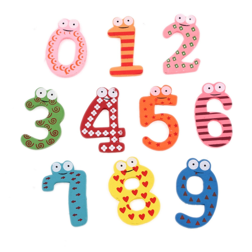 New Cute Wooden Fridge Magnet Number 0 9 Kids Educational