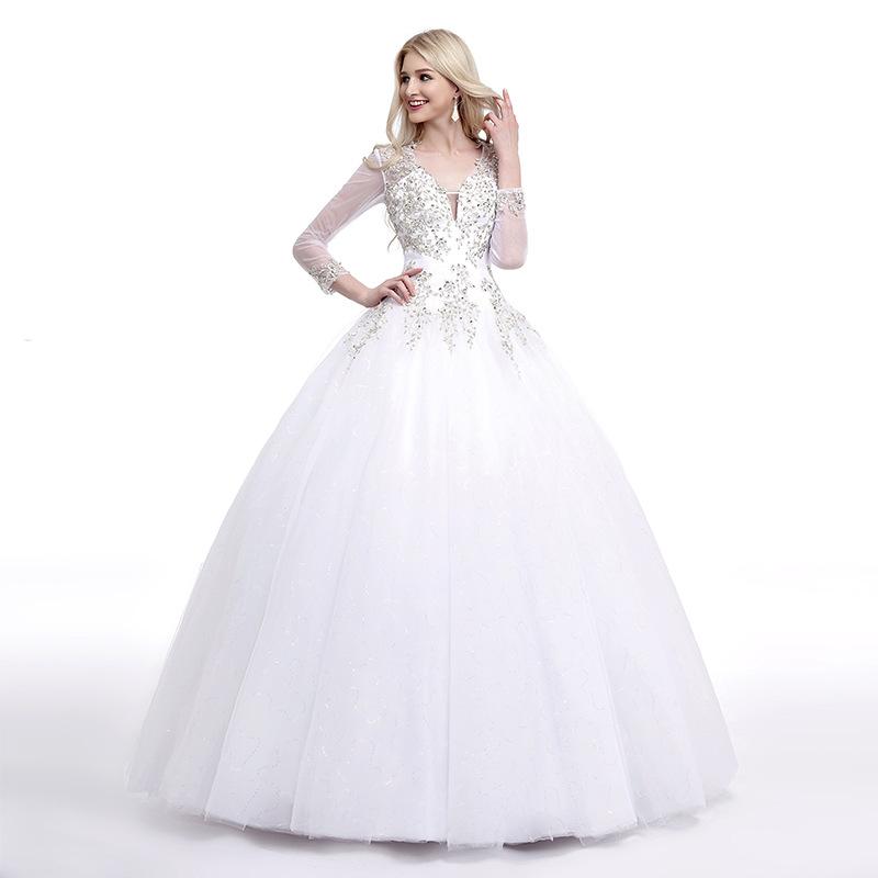 2016 New Luxury Bride Princess Vintage Wedding Dresses Custom Plus Size White Lace Crystal Sexy