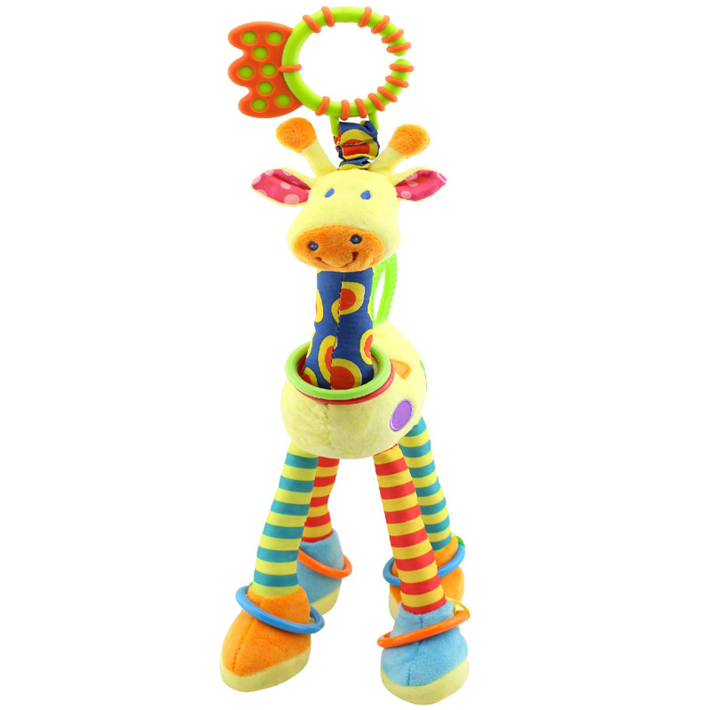 Brand Giraffe plush toys for boy girl baby with infant teethers bell ring cute toys bed bell baby Appease dolls LYJ133(China (Mainland))