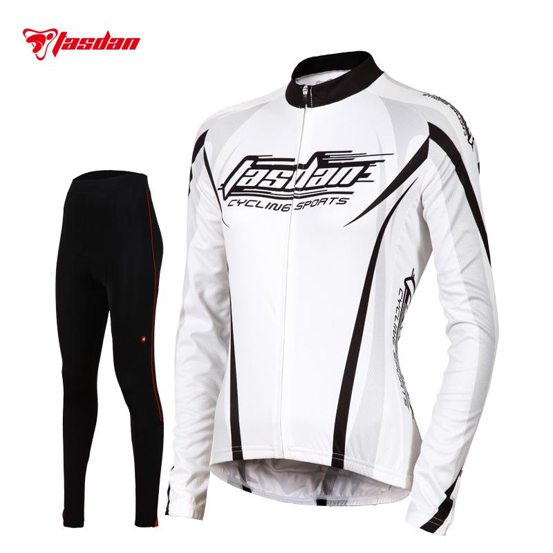 Tasdan Sports Top Jersey and Black Pants Fashionable Cycling Suit Long Sleeve Women Cycling Jerseys Set(China (Mainland))