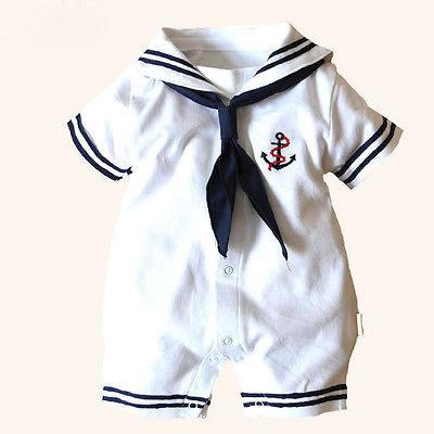 2015 Hot Newborn Boy Clothes Baby Romper Sailor Costume infant Babygrows 4-18M