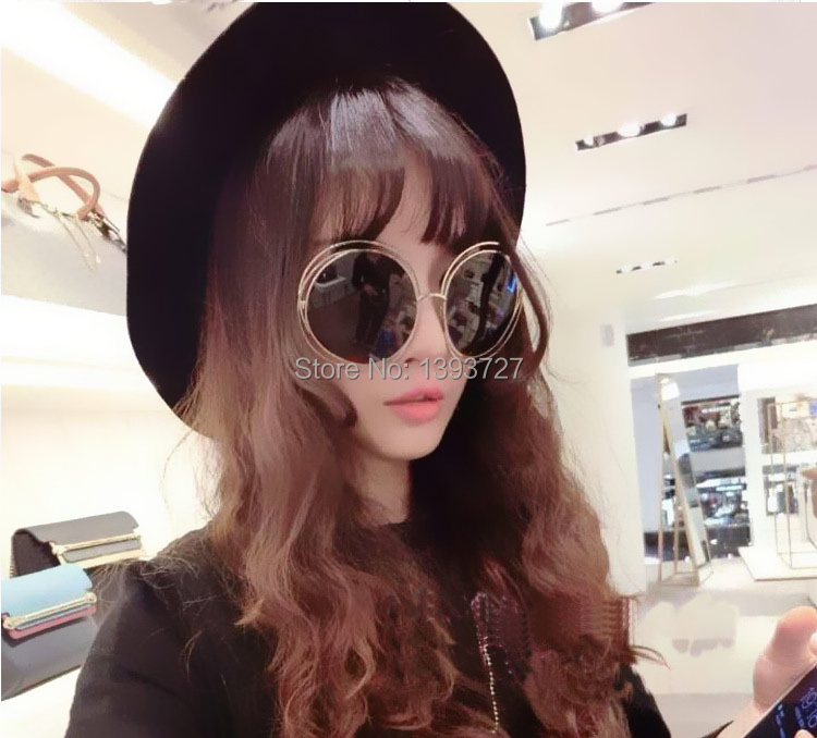 Free shipping High Quality Vintage large frame sunglasses male women's sunglasses fashion metal sunglasses glass(China (Mainland))