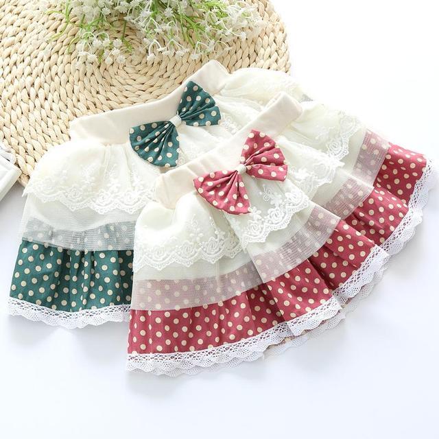 2016 корейской версии приток ребенка юбка до середины бедра точка лука декоративный шнурок шить марлевые юбка дети