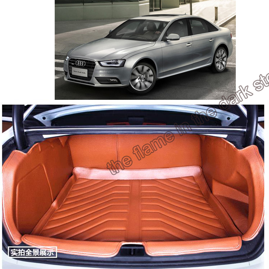 free shipping 5d full cover fiber leather waterproof car trunk mat for audi a4 B8 2008 2009 2010 2011 2012 2013 2014 2015 2016