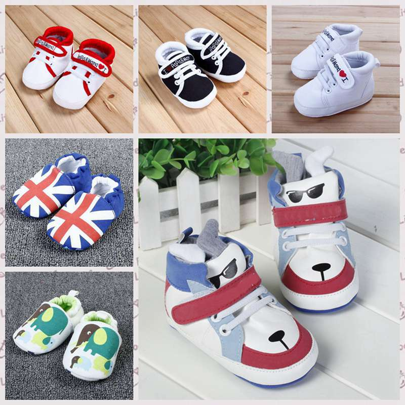 Hot Sale Cute Soft Gold Sole Crib Striped Baby Shoes Infant Toddler Kid Velcro solid First