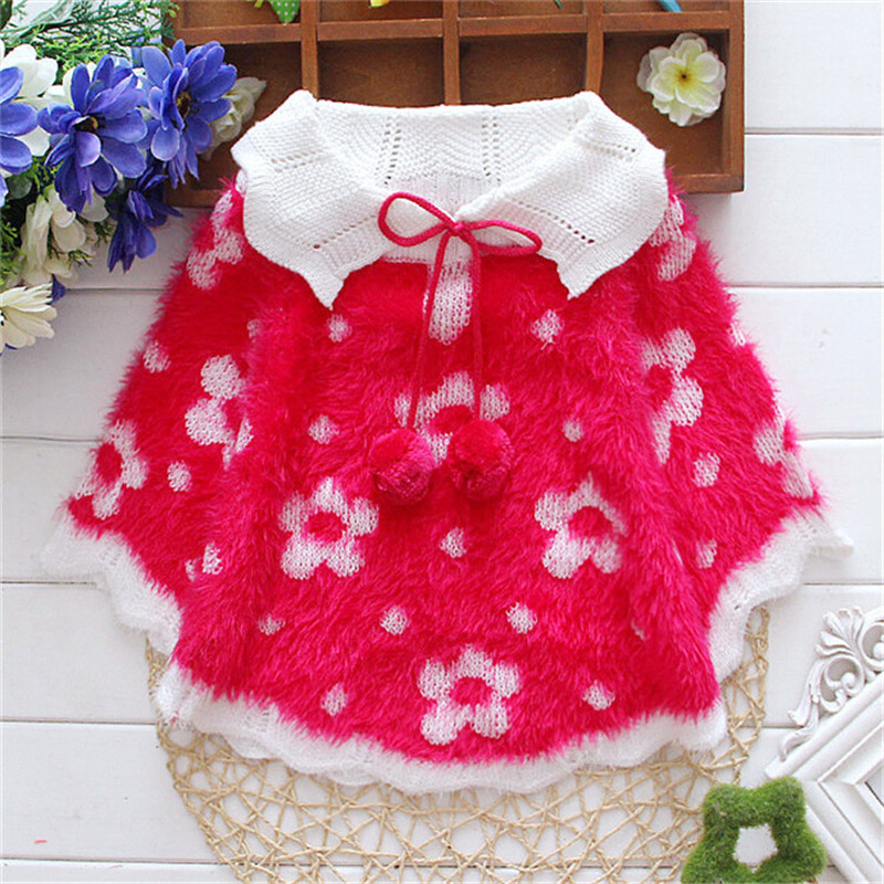 2015 Fashion baby girl clothing , kids sunflowers knitting cloak toddler girl clothing cape for outerwear coat ,baby clothes(China (Mainland))