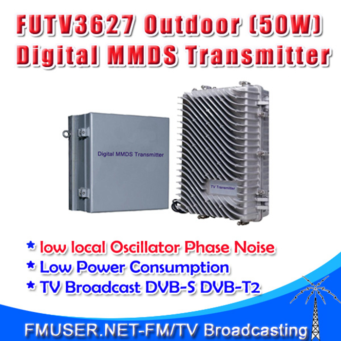 Freeshipping FMUSER FUTV3627 Outdoor (50W) transmitter dvb-s dvb-t2 low LO phase noise digital TV Broadcast MMDS amplifier(China (Mainland))