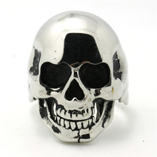 Europe Style Mens Boys 316L Stainless Steel Cool Punk Gothic Polishing Silver Skull Hot Ring