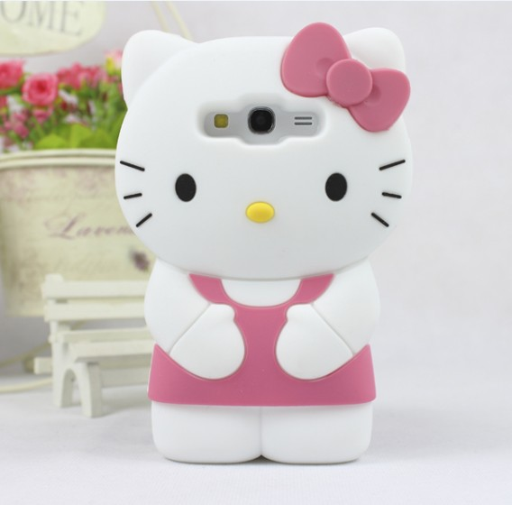 Free ship! 3D Hello Kitty Silicone Soft Back Cover Case For Samsung Galaxy Grand Duos i9082 Grand Neo i9060(China (Mainland))
