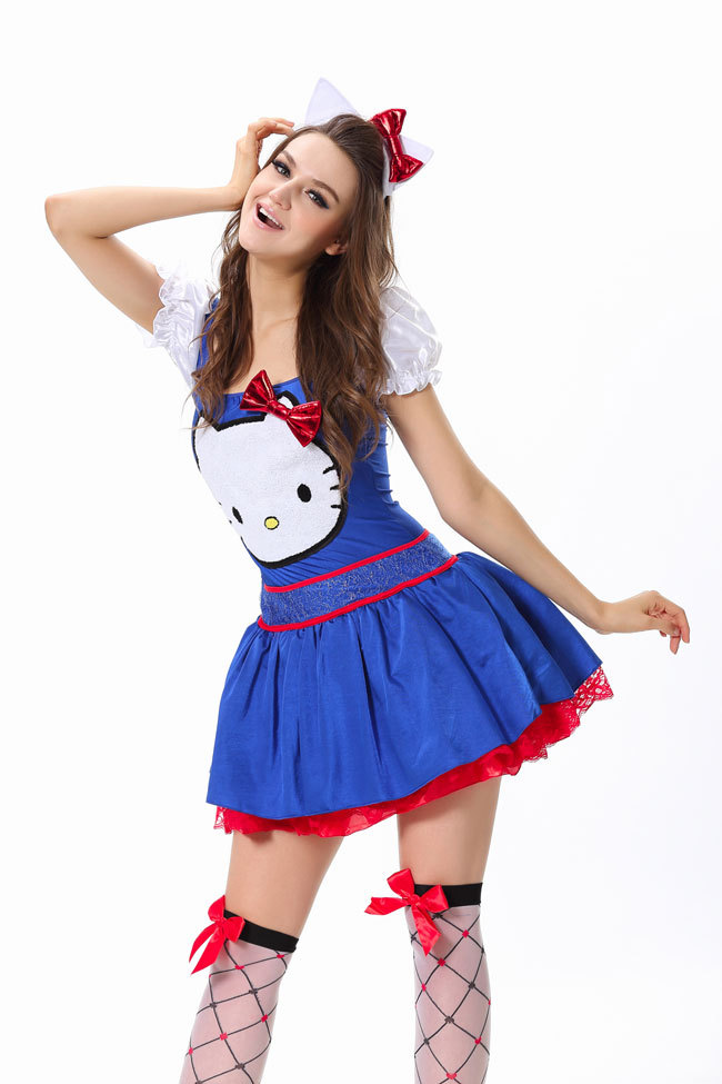 ML5380 New Arrival Fashion 2015 Adult Red Blue Fancy Dress Sexy Women Cosplay Maid Costume Halloween Hello Kitty Costume(China (Mainland))