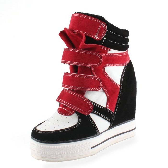 2016 hot fashion all genuine leather panda korean female thick sole shoes hidden wedges heels high platform casual boots(China (Mainland))