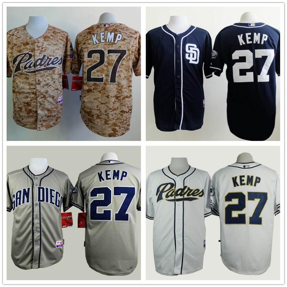 Men 27 Matt Kemp Embroidery Logos San Diego Padres Baseball VintageCheap China Authentic Camisas Promotion Aimee Smith Store(China (Mainland))