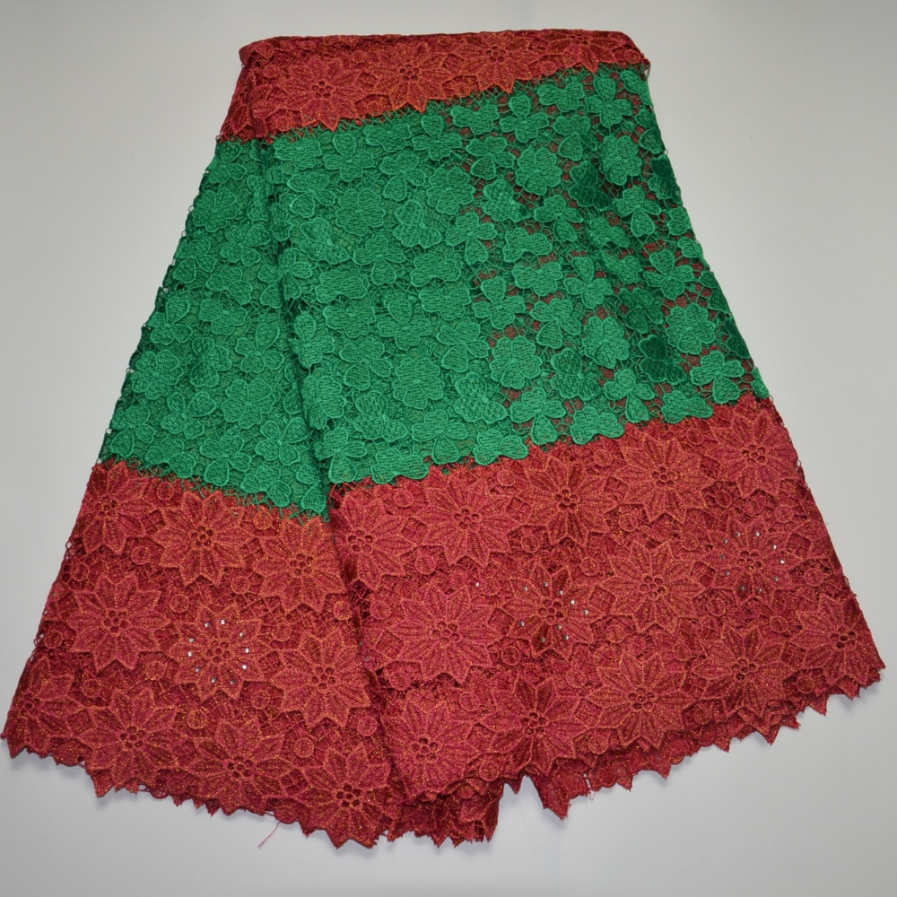 Red Green Fabric Newest High Quality Sweet Design Nigerian Lace African Lace Fabric France Stone Wedding Clothe Dress 5 Yards(China (Mainland))